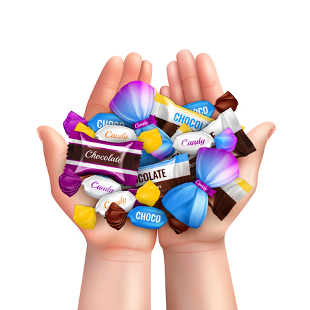 Realistic composition with heap of various chocolate candies in child hands vector illustration