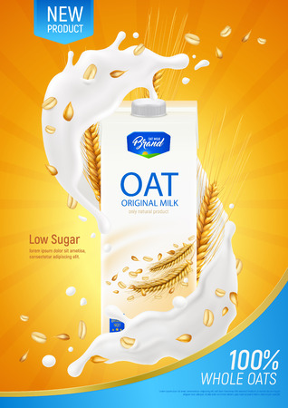 Oatmeal milk realistic poster as advertising illustration of original organic product without dairy and sugar vector illustration 向量圖像