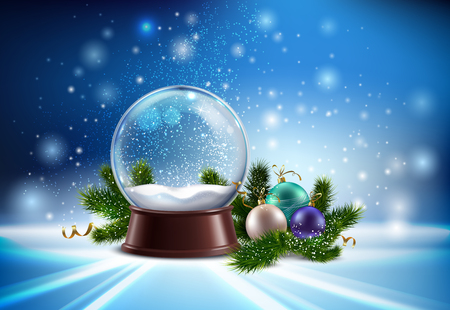 White snow globe realistic composition with hristmas tree toys and winter glitter vector illustration Ilustração