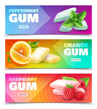 Set of horizontal ad banners realistic chewing gum with various flavor isolated on colorful background vector illustration