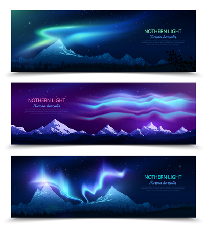 Northern lights aurora borealis night sky and landscape 3 colorful realistic horizontal banners set isolated vector illustration Иллюстрация