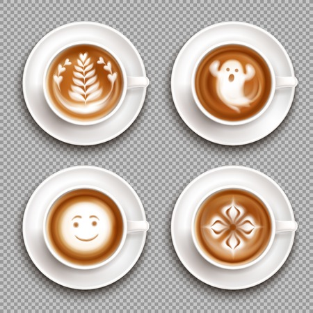 Colored latte art top view icon set with art in mugs and transparent background vector illustration