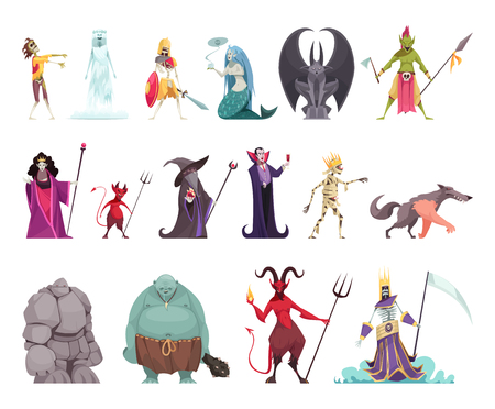 Evil fairy tails characters set with wicked witch stepmother queen vampire stone man dragon funny colorful vector illustration Illustration
