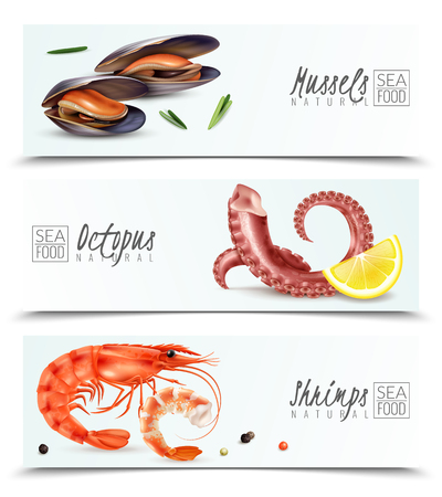 Mariscos sostenibles opción 3 pancartas horizontales realistas con mejillones camarones pulpo aperitivo cóctel ingredientes aislados ilustración vectorial Ilustración de vector