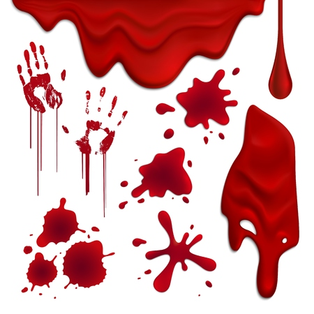 Realistic blood drops and blots set isolated on white background vector illustration Ilustrace