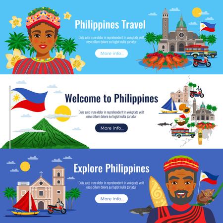 Filipinas conjunto de banderas horizontales con objetos de viaje y puntos de referencia sobre fondo blanco azul aislado ilustración vectorial Ilustración de vector