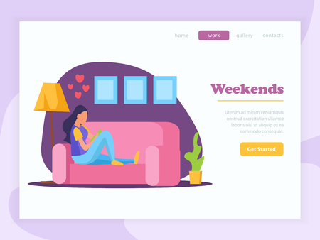 Lazy weekends people flat banner with weekends headline woman reed the book on couch and get started button vector illustration