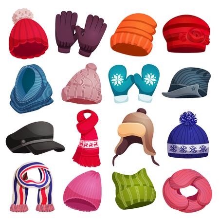 Écharpe d'hiver saisonnière chapeaux casquettes gants mitaines sertie de seize images colorées isolées sur illustration vectorielle fond blanc