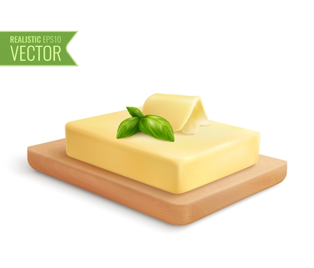 Realistic composition with butter stick on wooden cutting board vector illustration Ilustracja