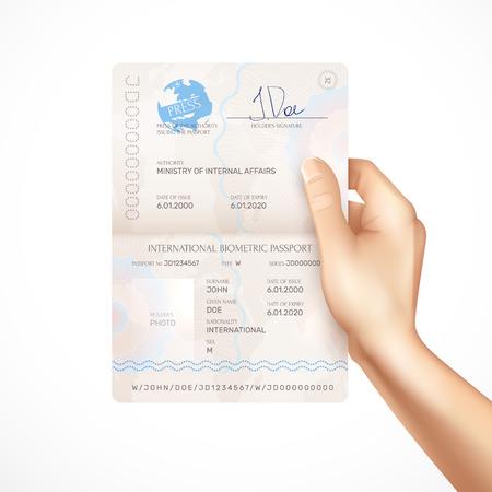 Main humaine tenant la maquette du passeport biométrique international avec la signature des détenteurs des dates d'émission et d'expiration et le nom de l'autorité délivrant le passeport illustration vectorielle réaliste