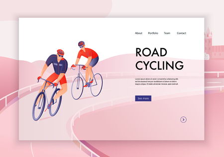 Bicyclists in helmets during road cycling tour concept of web banner vector illustration