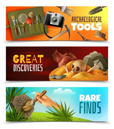 Set of three horizontal archeology banners with cartoon style images and colourful landscapes with editable text vector illustration