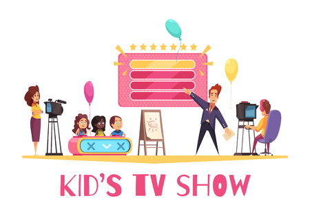 Television games competitions show for children cartoon composition with kids presentator operator in tv studio vector illustration