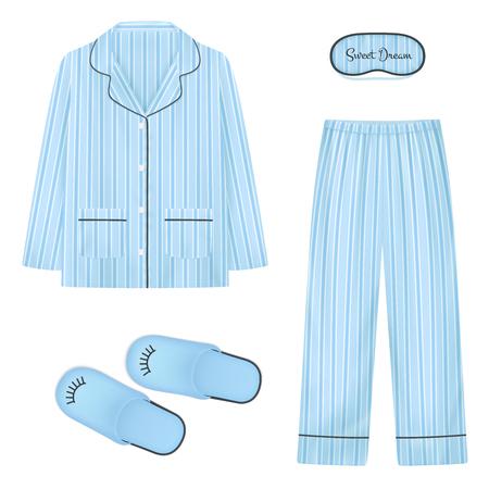 Conjunto realista de ropa de dormir en color azul con parche en el ojo de zapatillas para dormir y pijama aislado ilustración vectorial