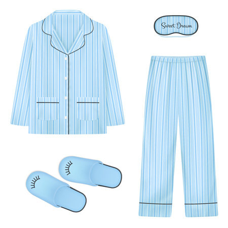 Nightwear realistic set in blue color with  slippers eye patch for sleep and pajamas isolated vector illustration