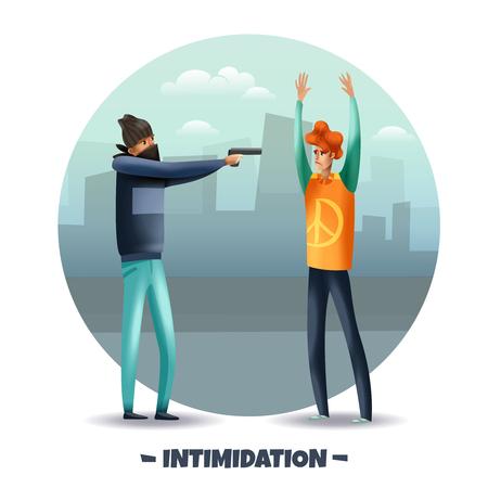 Intimidazione violenta di comportamento aggressivo con composizione rotonda colorata di armi con pistola puntata criminale all'illustrazione vettoriale dell'uomo Vettoriali