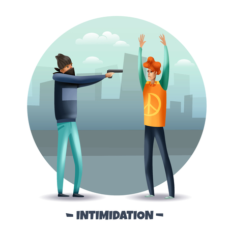 Violent aggressive behavior intimidation with weapon colorful round composition with criminal pointing pistol at man vector illustration Vector Illustration