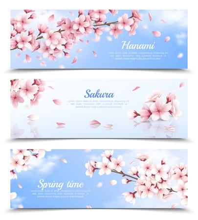 Ensemble réaliste de trois bannières horizontales avec des fleurs de sakura en fleurs sur fond de ciel bleu isolé illustration vectorielle