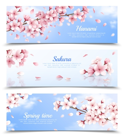 Realistic set of three horizontal banners with blossoming sakura flowers on blue sky background isolated vector illustration Vectores