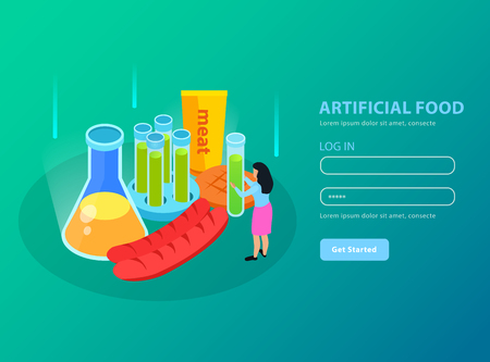 Artificial foods genetically modified meat products and chemical equipment on gradient turquoise background isometric vector illustration