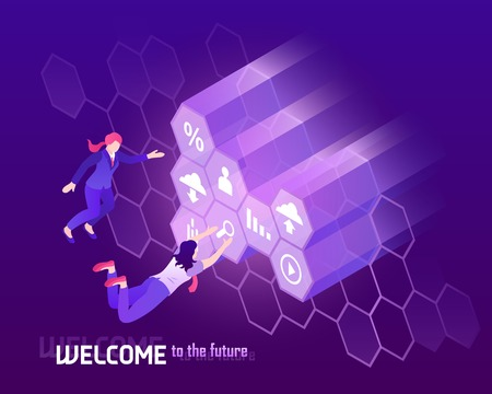Future high technology background with people in front of big monitor 3d isometric vector illustration