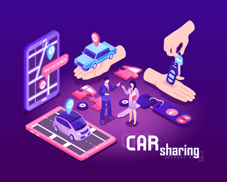 Isometric car sharing composition with conceptual images of touch screen devices cars people and location signs vector illustration Illustration