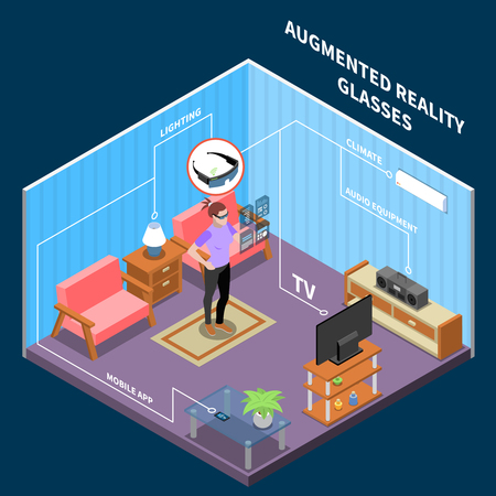 Wearable technology smart clothes isometric composition with domestic room environment and human controlling consumer electronic equipment vector illustration