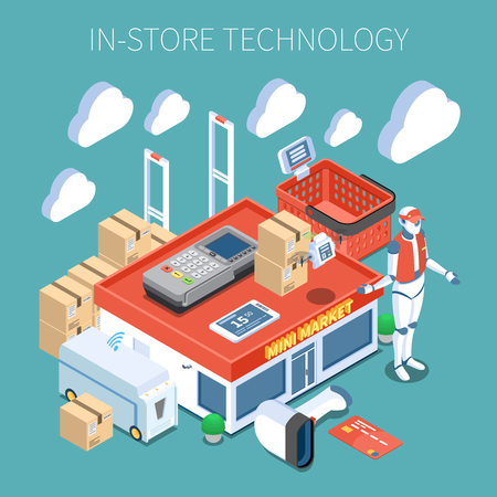 Shop technology supermarket of future colored composition with  surveillance system flying inventory scanner robot consultant isometric icons vector illustration Ilustração