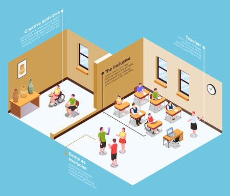 Isometric composition with students on inclusive education classes 3d vector illustration