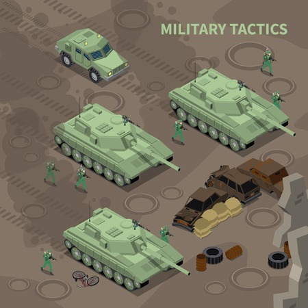 Military tactics isometric background illustrated soldiers with rifles advancing under cover of heavy military vehicles vector illustration