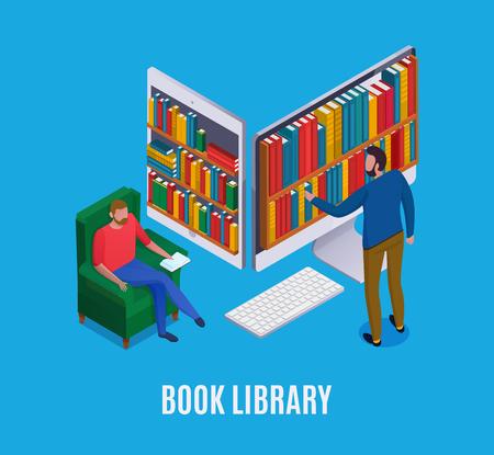 Concept de bibliothèque en ligne avec ordinateur abstrait et homme choisissant des livres sur fond bleu illustration vectorielle isométrique 3d Vecteurs