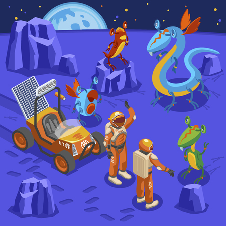 Aliens isometric background astronauts on unknown planet and big eyed monsters around vector illustration Illustration