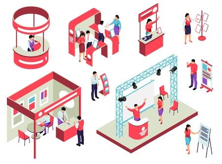 Isometrisches Set der Messe mit Ausstellungsausrüstung für Mitarbeiter und Besucher und Werbebroschüren isolierte Vektorillustration Vektorgrafik