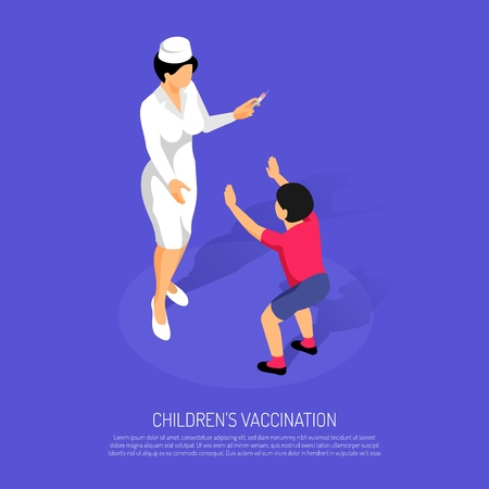 Isometric vaccination concept with female doctor and child patient vector illustration