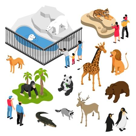 L'insieme isometrico degli animali e delle persone durante la visita allo zoo su fondo bianco ha isolato l'illustrazione di vettore