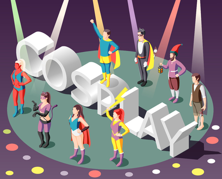 Isometric composition with people wearing costumes at cosplay party on background with colorful spotlight 3d vector illustration