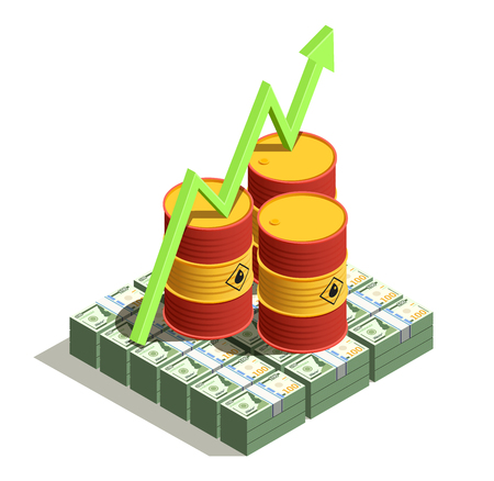 Oil petroleum industry production benefits isometric composition with dollar banknotes and barrel value growth arrow vector illustration