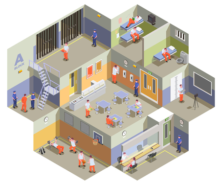 Composición isométrica interior del centro de detención de la cárcel con prisioneros en las celdas, cantina, gimnasio y área de visitas, ilustración vectorial Ilustración de vector