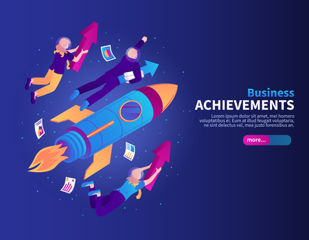 Business achievements color background with rocket and people flying to galaxy stars isometric vector illustration