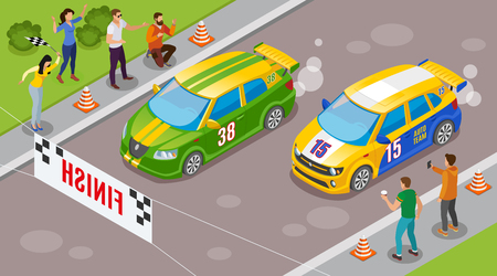 Racing sports background with sports cars at start symbols isometric  vector illustration 向量圖像