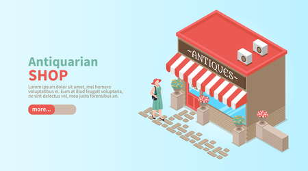 Antiquarian shop horizontal banner with elegant woman coming to shop window to make vintage purchase isometric vector illustration Illustration
