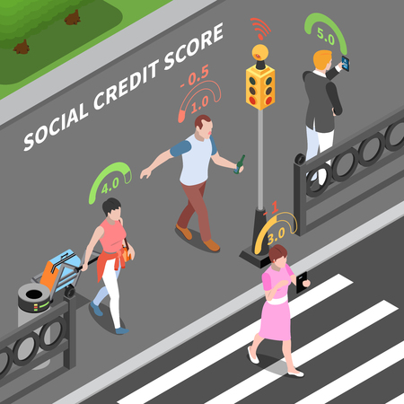 Social credit score system isometric composition with outdoor street scenery and people with digital rating pictograms vector illustration