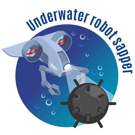Military robots round background with image of underwater robot sapper neutralizing mine isometric vector illustration