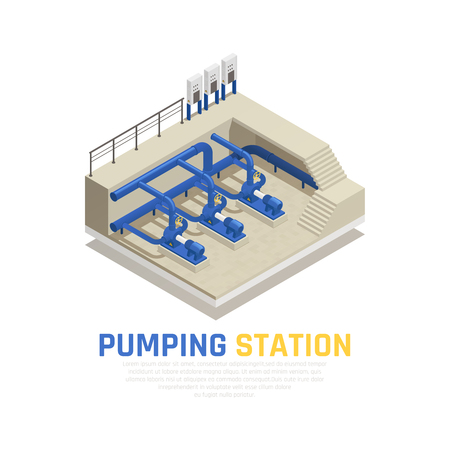 Pumping station concept with water cleaning symbols isometric vector illustration Illustration