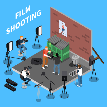 Film shooting isometric background with operators and actors engaged in street scene vector illustration