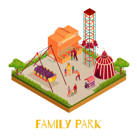 Family park with adults and kids circus marquee attractions shooting gallery on white background isometric vector illustration