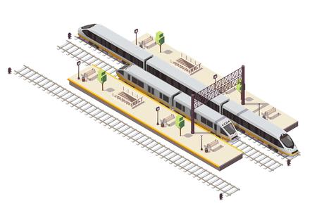 Composición isométrica de la estación de tren con plataformas de pasajeros, escalera, túnel, entrada, tren, autobús y tren de alta velocidad, ilustración vectorial