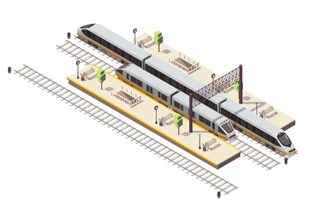 Railway station isometric composition with passenger platforms staircase tunnel entrance rail bus and high speed train vector illustration 版權商用圖片 - 117444799