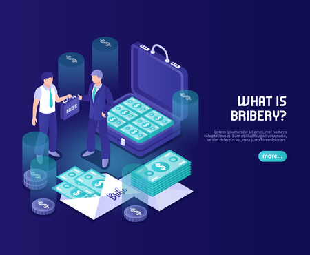 What is bribery abstract color background with businessman official and briefcase with money isometric vector illustration