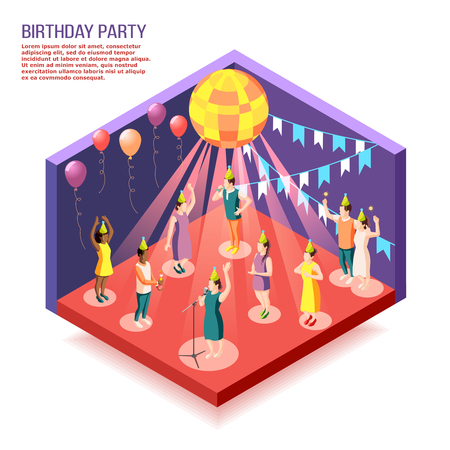 Birthday party isometric vector illustration with people gathered together in decorated hall to celebrate holiday Иллюстрация